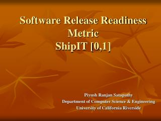 Software Release Readiness   Metric ShipIT [0,1]