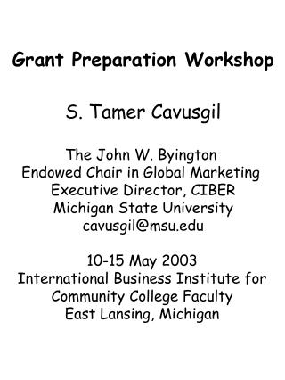 Grant Preparation Workshop