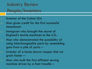 Industry Review People/Inventors