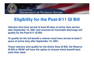 Eligibility for the Post-9/11 GI Bill