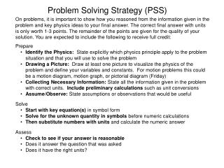Problem Solving Strategy (PSS)