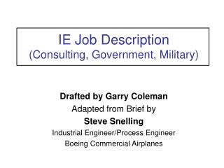 IE Job Description (Consulting, Government, Military)