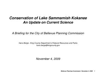 Conservation of Lake Sammamish  Kokanee  An Update on Current Science