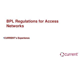 BPL Regulations for Access Networks