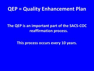 QEP = Quality Enhancement Plan
