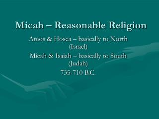 Micah – Reasonable Religion