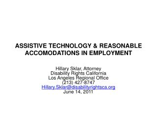 ASSISTIVE TECHNOLOGY & REASONABLE ACCOMODATIONS IN EMPLOYMENT