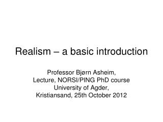 Realism – a basic introduction