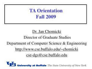 TA Orientation Fall 2009