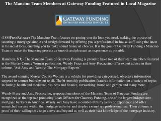 The Mancino Team Members at Gateway Funding Featured in Loca