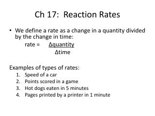 Ch 17:  Reaction Rates