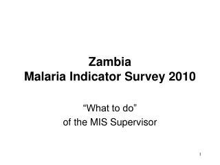 Zambia Malaria Indicator Survey 2010