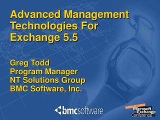 Advanced Management Technologies For Exchange 5.5