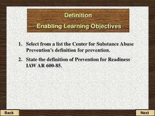 Definition  Enabling Learning Objectives