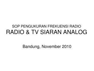 SOP PENGUKURAN FREKUENSI RADIO  RADIO & TV SIARAN ANALOG
