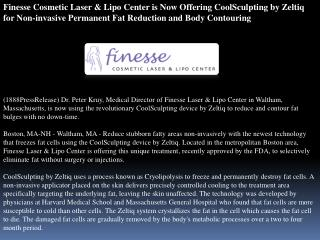 Finesse Cosmetic Laser & Lipo Center is Now Offering CoolScu
