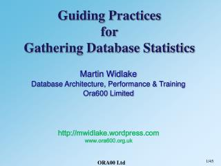 Guiding Practices for Gathering Database Statistics