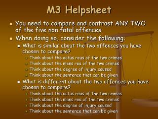M3 Helpsheet