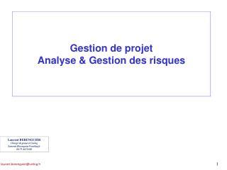 Gestion de projet Analyse & Gestion des risques