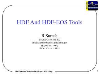 HDF Vendors/Software Developers Workshop