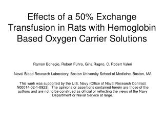 Effects of a 50% Exchange Transfusion in Rats with Hemoglobin Based Oxygen Carrier Solutions