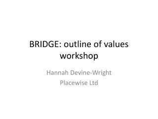 BRIDGE: outline of values workshop