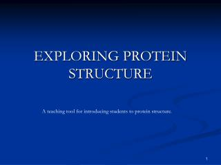 EXPLORING PROTEIN STRUCTURE