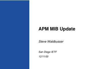 APM MIB Update