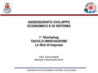 ASSESSORATO SVILUPPO ECONOMICO E DI SISTEMA 1� Workshop TAVOLO INNOVAZIONE Le Reti di Imprese
