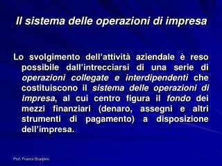 Il sistema delle operazioni di impresa