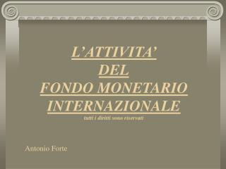 L'ATTIVITA' DEL FONDO MONETARIO INTERNAZIONALE tutti i diritti sono riservati