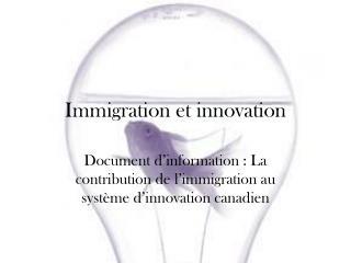 Immigration et innovation