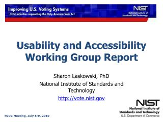 Usability and Accessibility Working Group Report