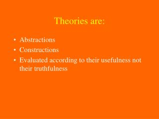 Theories are: