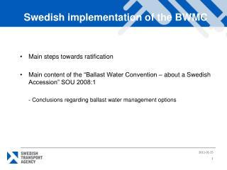 Main steps towards ratification