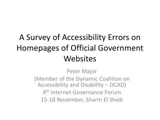A Survey of Accessibility Errors on Homepages of Official Government Websites