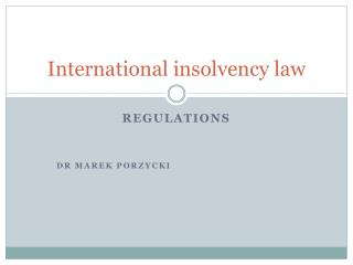 International insolvency law