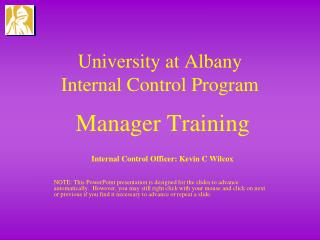 University at Albany  Internal Control Program