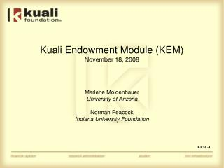 Kuali Endowment Module KEM November 18, 2008