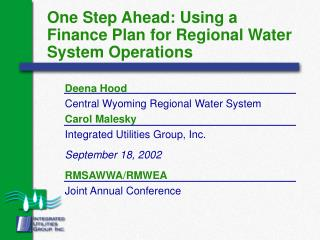 One Step Ahead: Using a Finance Plan for Regional Water System Operations