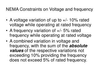 NEMA Constraints on Voltage and frequency