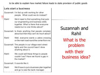 Suzannah and Rahil  What is the problem  with their business idea
