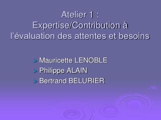 Atelier 1 :  Expertise/Contribution à l'évaluation des attentes et besoins