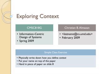 Exploring Context