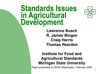 Standards Issues in Agricultural Development