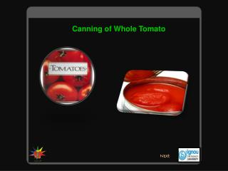 Canning of Whole Tomato