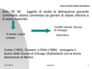 Teoria  teorie della subcultura