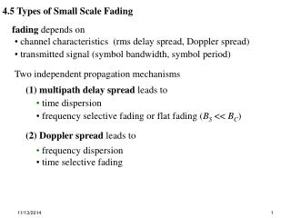 4.5 Types of Small Scale Fading