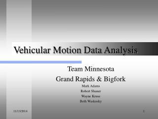 Vehicular Motion Data Analysis