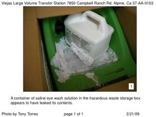 Viejas Large Volume Transfer Station 7850 Campbell Ranch Rd. Alpine, Ca 37-AA-0103
